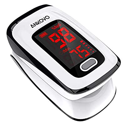 Pulse Oximeter Fingertip (Oximetro), ANKOVO Blood Oxygen Saturation Monitor, Heart Rate Monitor and SpO2 Levels, Portable Pulse Oximeter with Case, Lanyard and Batteries (Black)