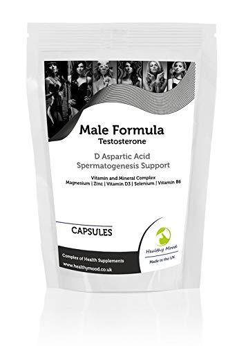Male Test Formula Capsules Testosterone D Aspartic Acid Spermatogenesis Vitamin and Mineral Complex - UK - Pack of 60 Pills Pills