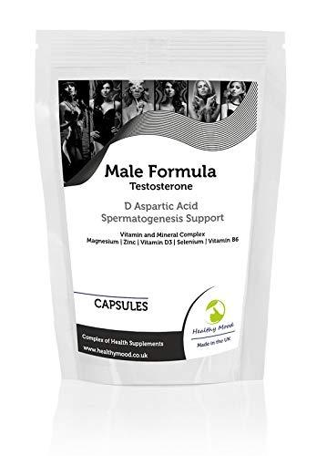 Male Test Formula Capsules Testosterone D Aspartic Acid Spermatogenesis Vitamin and Mineral Complex - UK - Pack of 60 Pills Pills