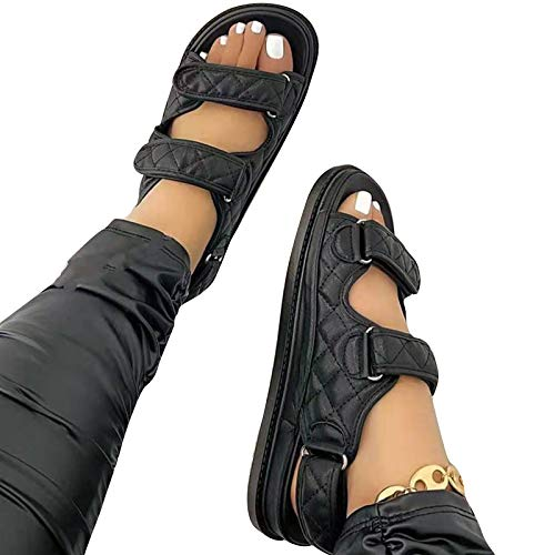 LIDABAO Women Peep Toe PU Flat Sandals with Fasten Tape Breathable Casual Wedges Slippers Shoes Simple Style Soft Sole for Girls