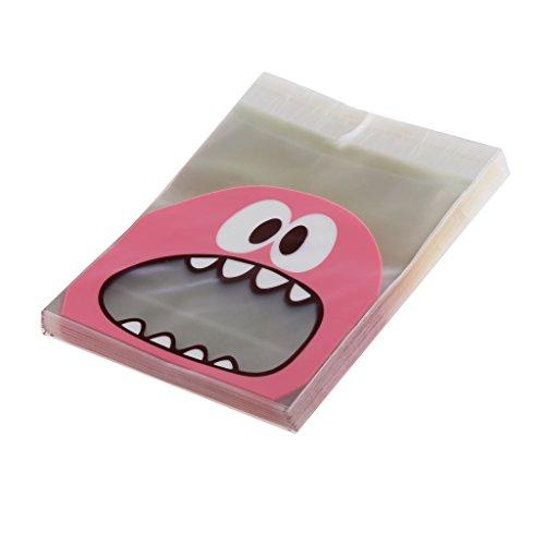 100× Geschenktüte Kekstüten Plätzchenbeutel Tütchen Verpackung Tasche - Rosa, 10×10cm/3.9×3.9inch