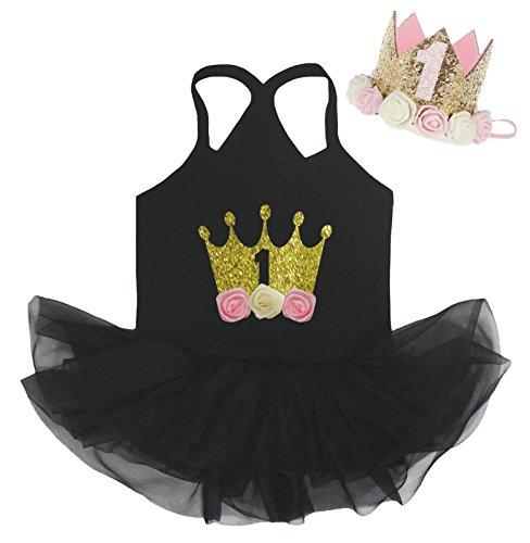 Petitebelle 1e Bloemen Kroon Zwart Halter Hals Baby Jurk Chiffon Tutu Nb-24m