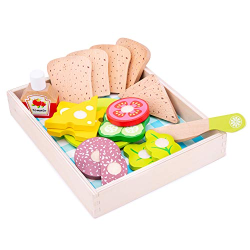 New Classic Toys Wooden Pretend Play Toy for Kids Lunch Picnic Box Cooking Simulation Educational Toys and Color Perception Toy for Preschool Age Toddlers Boys Girls