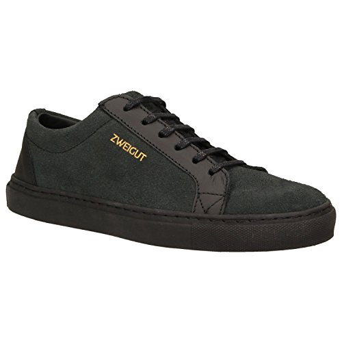 Zweigut® -Hamburg- echt #412 Herren Leder-Sneaker aus dem Leder Alter Autositze Schuhe upcycling und nachhaltig, Schuhgröße:41, Farbe:schwarz