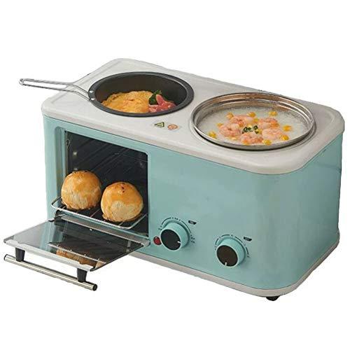 Toaster 6 in 1 Frühstück Maschine 1200W Haushalt Multifunktionale Ernährung Mahlzeit Maschine Brot-Maschine Sandwich Frühstück Maschine,Blau