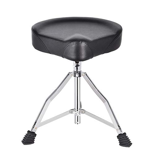 EastRock Universal Motorcycle Style Drum Throne,Padded Drum Seat Rotatable Height Adjustable drumming Stools with Anti-Slip Feet for Adults and Kids Black (Black-H)