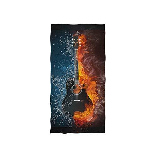 Rodde Handdoeken 15x30 Inch Akoestische Gitaar Vuur en Water Muziek Yoga Gym Katoen Gezicht Spa Absorbens Multipurpose voor Badkamer Keuken Hotel Home Decor Set