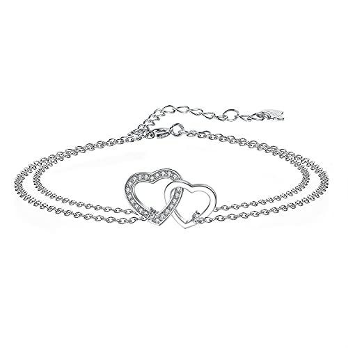Arrebol Pulsera Corazón para Mujer Plata de Ley 925 con Circonita, Pulsera de Corazon Amor Ajustable (16 + 4cm) Regalo para Mujeres Niñas