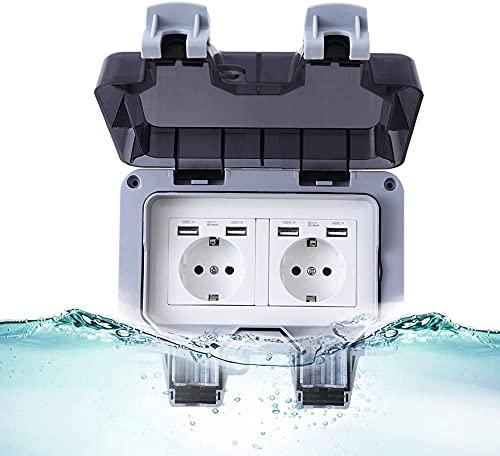 Enchufe exterior IP66 resistente a la intemperie, Enchufe de pared para exteriores, enchufe doble con tapa abatible, enchufe impermeable para exteriores con protección de contacto (Doble)