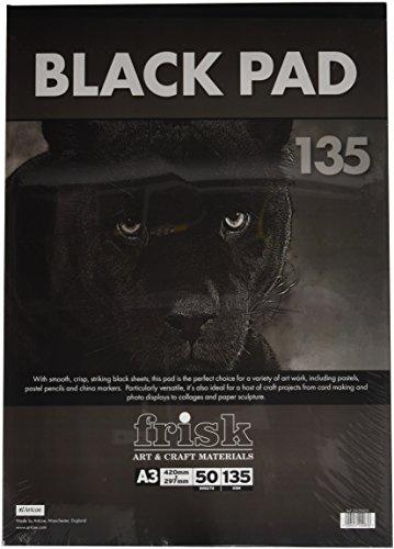 Frisk Black Pad - Juego de Bloc de Dibujo de Hojas Negras (135g/m², tamaño A3, 50 Hojas)