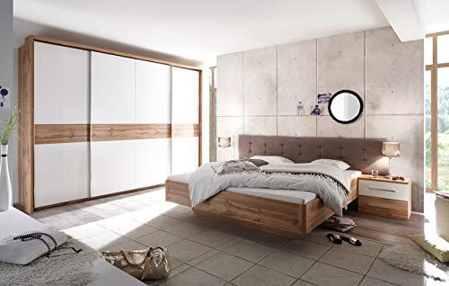lifestyle4living Schlafzimmer, Schlafzimmermöbel, Set, Komplettset, Schlafzimmereinrichtung, Wildeiche, Weiß, Bettanlage, Kleiderschrank,...