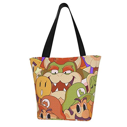 Super Mario Totes Carry Bag- Women's Shoulder Handbags Big Capacity Shopping Bag Canvas Handbags Casual Ladies for Shopping Purse portable webbing is strong and durable