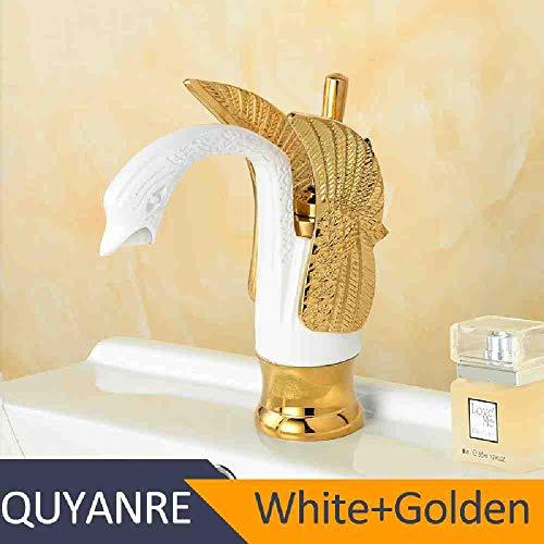 RSZHHL Grifo Grifo de lavabo de cisne dorado cromado negro Grifo monomando de latón Grifo monomando Grifo del lavabo del baño Torneira do Banheiro