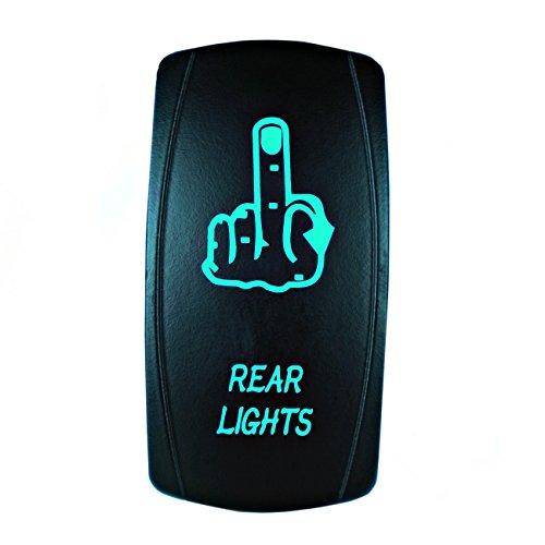 STV Motorsports 5 Pin Laser Rocker Switch REAR LIGHTS (MIDDLE FINGER) On/Off LED Light 12V 20A (Green)