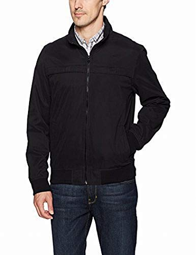 Dockers Men's Clayton Microtwill Golf Bomber Jacket, Black, X-Large