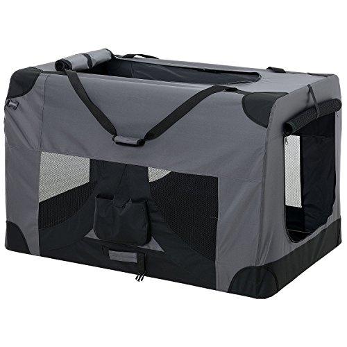 [pro.tec] Faltbare Hundetransportbox Gr. XXL 63,5 x 63,5 x 91,4cm Transportbox Katzenbox Hundebox Grau Pflegeleicht