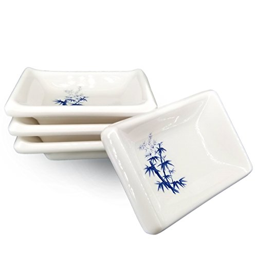 Happy Sales HSDBBM4T, Melamine Sauce Dipping Bowls, Sauce Dishes, Set of 4 pc Tetragon, Bamboo