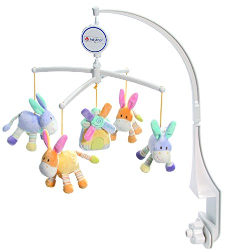 Fehn 164718 Musik Mobile Esel/Windmühle - Spieluhr-Mobile mit niedlichen Eseln zum Lauschen & Staunen / Zum Befestigen am Bett für Babys von 0-5 Monaten / Höhe: 65 cm, ø 40 cm