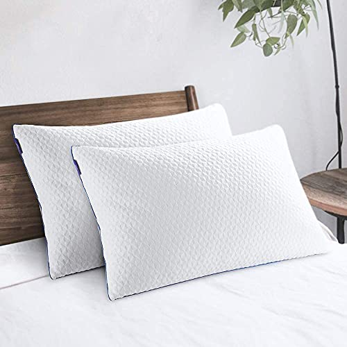 """viewstar Pillows for Sleeping 2 Pack Cooling Shredded Memory Foam Pillows Queen Size, Height Adjustable Medium Firm Bed Pillows for Side Back Stomach Sleepers, Zippered Bamboo Fiber Cover(20""""x 30"""")"""