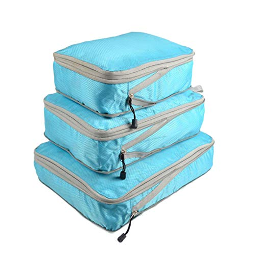 Guangcailun 3 Pieces Packing Cubes Set Travel Luggage Packing Organizer Travel Compression Suitcase Bags - Lake Blue