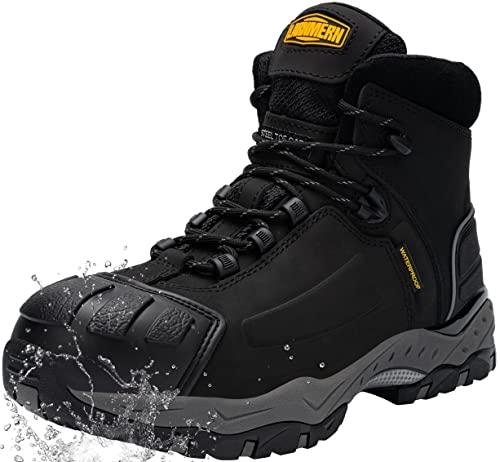 LARNMERN Zapato de Seguridad S3 SRC, con Tapa de Acero con Suela Antideslizante Caucho, Antiestático L8057 (45 EU Negro)