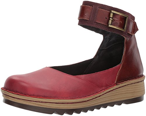 NAOT Women's Sycamore Mary Jane Flat, Berry Leather/Luggage Brown Leather/Violet Nubuck, 38 Medium EU (7 US)