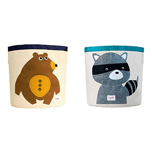3 Sprouts Canvas Storage Bin Laundry and Toy Basket for Baby and Kids, Bear and Raccoon