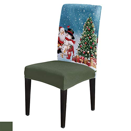 Christmas Chair Slipcover, Stretchy Universal Easy Fitted Dining Chair Cover Slipcovers for Home Party Weeding, 8Pcs Stretch Chair Covers, Santa Claus Sleigh Winter Snow Reindeer Deer