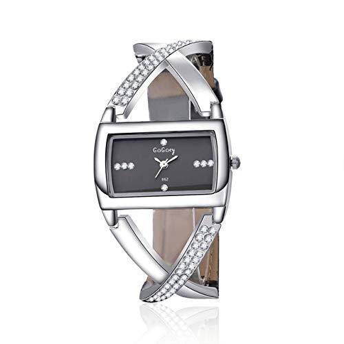 G-RF Dial Cuadrado De La Manera Hueco Cuero del Diamante del Reloj De La Correa De La Pulsera For La Mujer (Negro) (Color : Black)