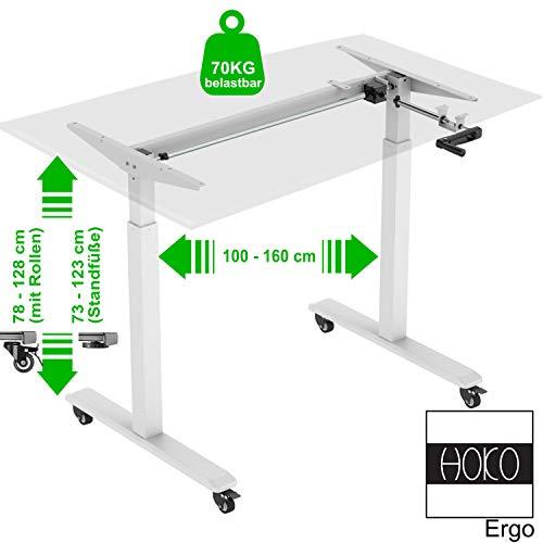 HOKO® Ergo-Work-Table Höhenverstellbarer Schreibtisch, Tischfüße Basic Weiß, manuell verstellbar, für Tischplatten ab 2,5cm. Inkl. Rollen und Standfüße. Ergonomisches Arbeiten im Sitzen und im Stehen!
