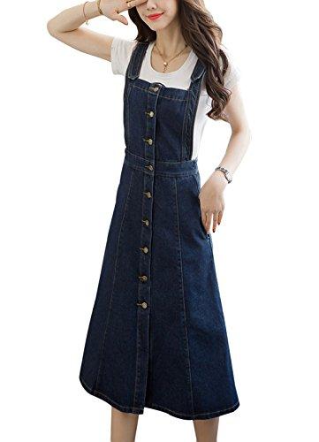 Yimoon Women's Casual Knee Length Single-Breasted Denim Suspender Skirt Adjustable Strap Overalls Dresses (Blue, Large)