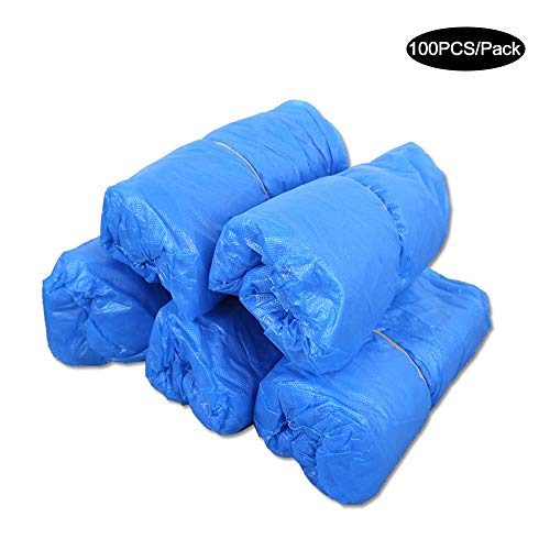 KKmoon 50 Pairs Disposable PE Shoes Covers Waterproof Dustproof Anti-slip Boot Shoe Covers with Elastic Band for Workplace Indoor Carpet Floor Protection Outdoor Activities Blue 100PCS/Pack
