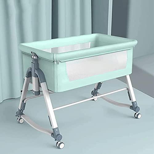 JIAX Cuna de bebé con altura ajustable para bebé recién nacido, cama de bebé plegable, lado adjunto a la cama de los padres con cesta de almacenamiento y bolsa de almacenamiento (color verde)