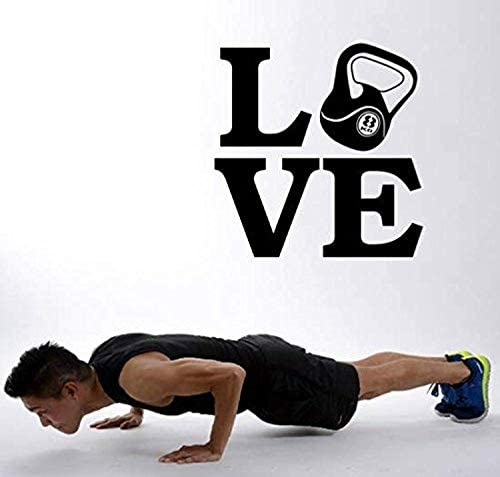 Wall Vinyl Decal Love Kettebell Workout Sport Fitness Gym Motivation Live Life Family Together product image