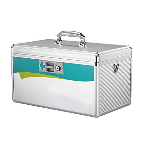 LJXLXY Große Kapazität Medical Box, abschließbare Medizin-Kasten mit Schlüssel, Aufbewahrungsbehälter, Silber, Multifunktionales Medizintechnik, Koffer