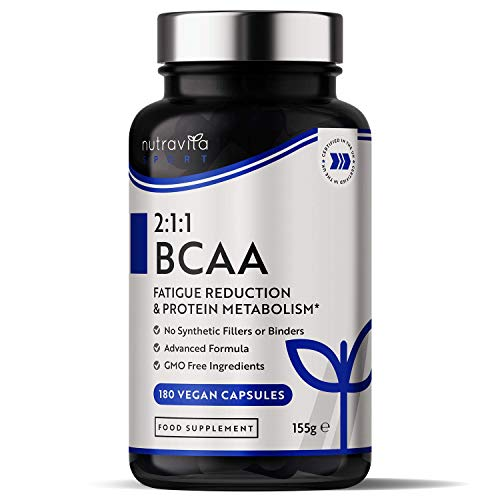 BCAA Supplement - 2:1:1 Leucine, Isoleucine and Valine with Added Vitamin B6 & B12 - Normal Energy Yielding Metabolism - Reduction in Fatigue - 180 Vegan Capsules - Made in The UK by Nutravita