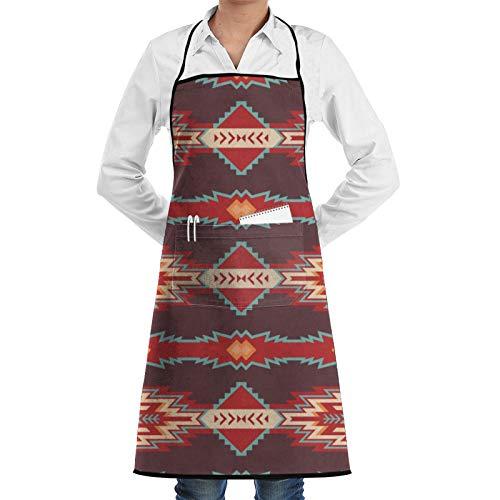 Native Southwest American Aztec Navajo Tablier de cuisine sans couture réglable avec poche, pour homme et femme, pour la cuisine, la pâtisserie, les travaux manuels, le jardinage, le barbecue