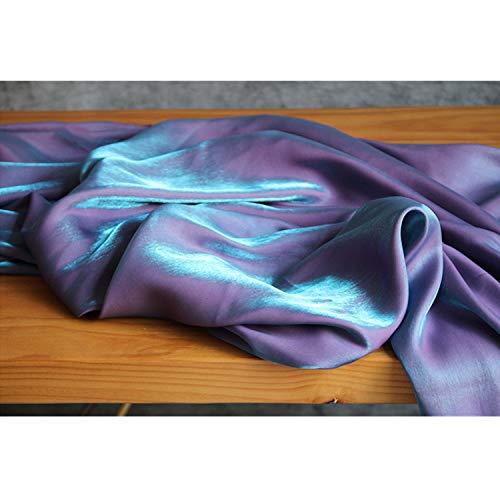 SQINAA Tela Seda Satin Pao Prpura Azul Brillante Sedoso Sedoso Y Delicado Disfraz Sagrador Sagrado Superficie Brillante para Vestidos,145x50cm