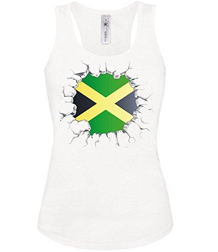 Fussball Fanshirt Jamaika 5727 Fan Shirt Tshirt Fanartikel Artikel Frauen Damen Tank Top Tanktop T-Shirts Weiss M