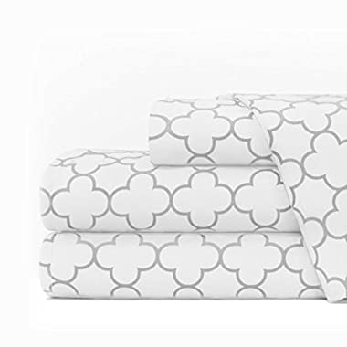 Egyptian Luxury 1600 Series Hotel Collection Clover Pattern Bed Sheet Set - Deep Pockets, Wrinkle and Fade Resistant, Hypoallergenic Sheet and Pillowcase Set - Queen - White/Light Gray