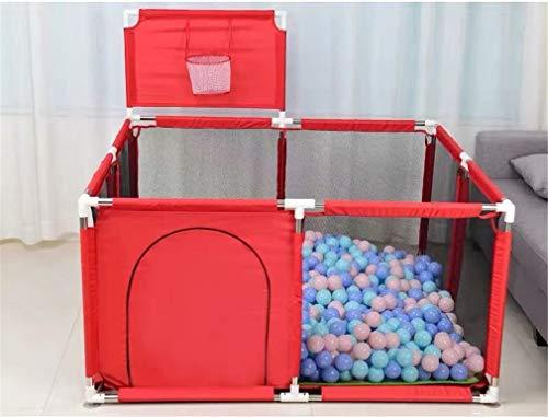 LY-JFSZ Clôture De Jeu Portable Parc Bébé Clôture De Sécurité pour Enfants Aire De Jeux Sécurisée pour Tout-Petits Tapis De Jeu Et Ballon Océan Inclus Red