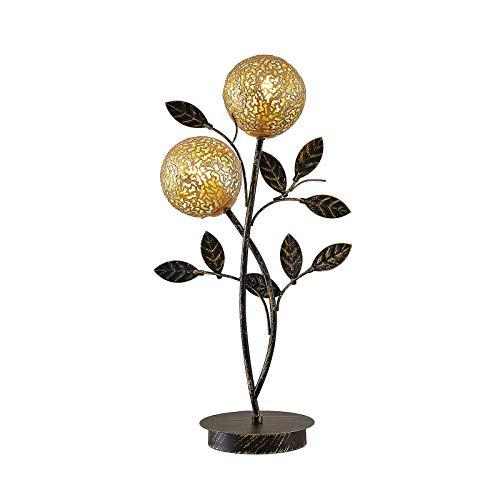 Lucande Tischlampe 'Evory' in Schwarz aus Metall u.a. für Wohnzimmer & Esszimmer (2 flammig, G9, A++) - Florentiner Tischleuchte, Schreibtischlampe, Nachttischlampe, Wohnzimmerlampe