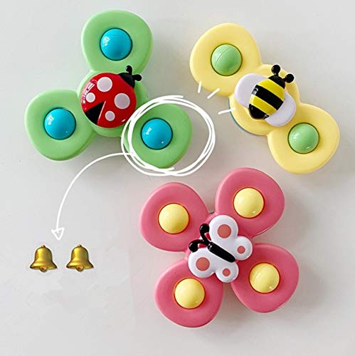 COLAXI 3Pcs Baby Child Spinning Top Toys,Animal Suction Cup Turntable Car Seat Toys,Table Sucker Preschool Learning Baby Sensory Bath Toys for 0,3,6,9,12 Months Newborn, Infant, Boy, Girl