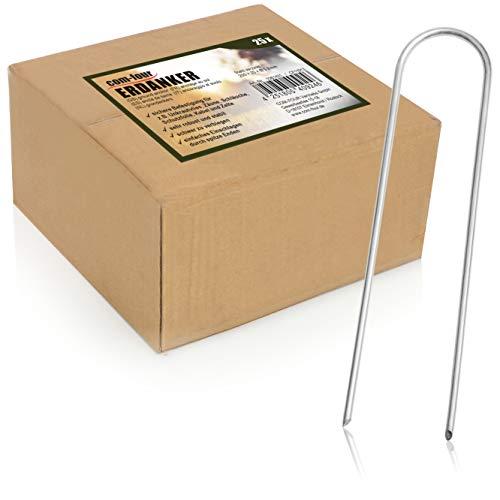 com-four Anclajes de Suelo 25x de Acero Revestido - piquetas de Suelo robustas para Sujetar vellón y láminas de Hierba - Anclajes de Suelo para jardín y Camping - Redondos (025 Stück - 200x25x3.8mm)
