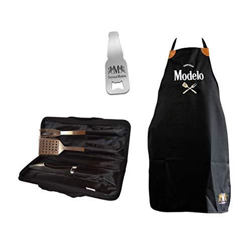 Pack Cerveza Modelo Parrillada: Mandil + Set de Utensilios para Parrilla + Destapador de Botella