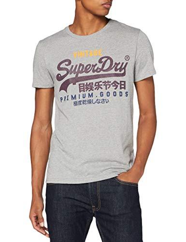 Superdry Mens VL TRI Tee T-Shirt, Silver Glass Feeder, XXXX-Large