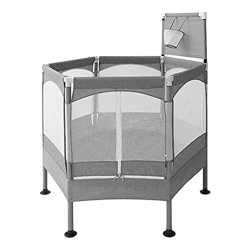 Yamyannie Mini Trampolín Inicio Indoor Niños Trampolín con Baloncesto Hoop & Handrail Kids Fitness Equipment Humping Bed para Niños (Color : Gris, Size : 99x33.5cm)