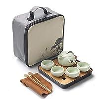 中国旅行カンフーティーセットセラミックポータブルティーポット磁器ティーセット外i茶カップの茶道ティーポット旅行バッグ、A