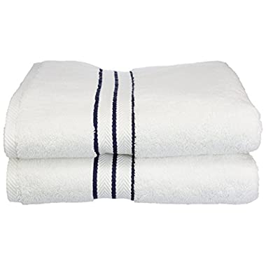 Superior Hotel Collection 900 Gram, 100% Premium Long-Staple Combed Cotton 2 Piece Bath Towel Set, White with Navy Blue Border