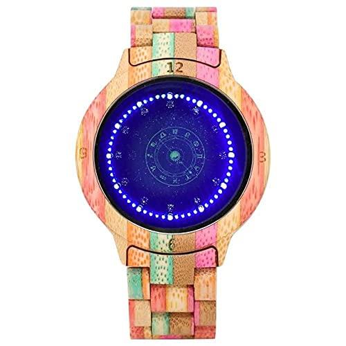 GIPOTIL Reloj de Madera Colorido para Hombre Pantalla LED única Pantalla táctil Ligera Reloj para Hombre Reloj de Mujer Reloj de visión Nocturna Relojes de Pulsera de Moda, Madera Colorida